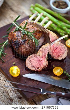 Beautifully Grilled Lamb Rib Chop Steaks, Medium Rare .