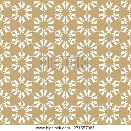 Vector Golden Floral Seamless Pattern. Luxury Geometric Background With Flower Shapes, Stars, Snowfl