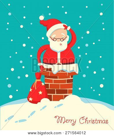 Santa Claus Stuck In The Chimney In The Christmas Holiday Winter Night
