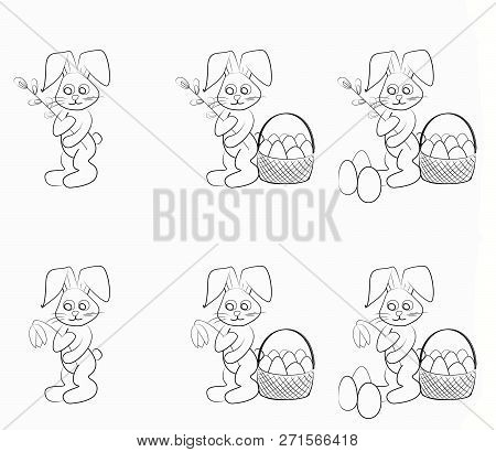 Easter Coloring Set. Black And White Raster Illustrations For Coloring Book.easter Bunny With A Will