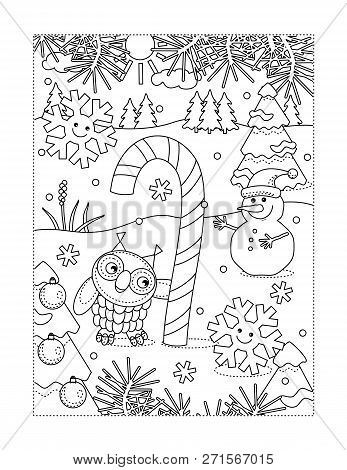 Winter Holidays Joy Themed Coloring Page With Big Magic Candy Cane, Owl, Snowman, Two Cheerful Snowf