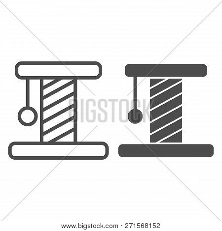 Cat Scratcher Line And Glyph Icon. Pet Toy Vector Illustration Isolated On White. Kitten Scratcher O