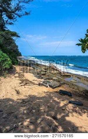 Waipouli Beach Park Along The Wailua Coast, Kauai, Hawaii