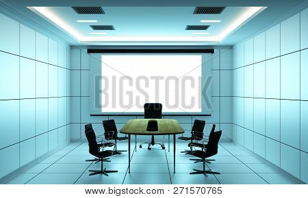 Office Business Boardroom Meeting Room And Conference Table, Modern Style. 3d Rendering