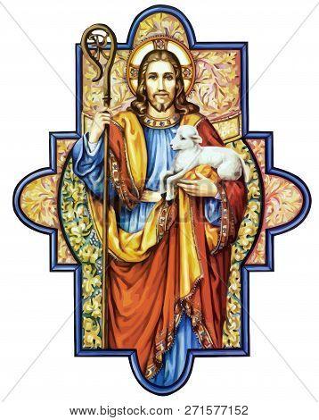 Jesus Christ Sacred Love Peace Faith Holy Heart Spirit Lamb Illustration