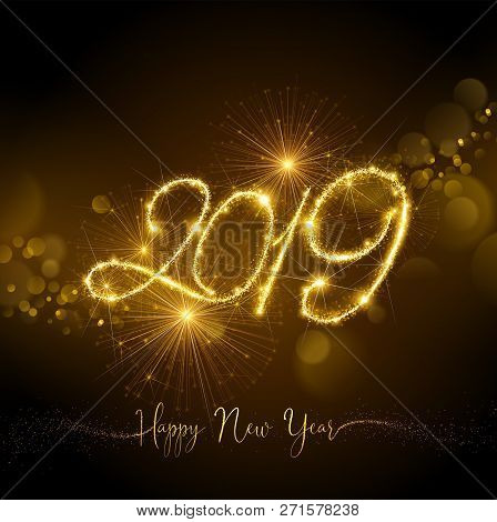 New Year Fireworks 2019 With Flickering Lights Effect. Vector