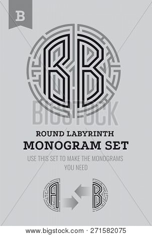 B Letter Maze. Set For The Labyrinth Logo And Monograms, Coat Of Arms, Heraldry, Abbreviation.