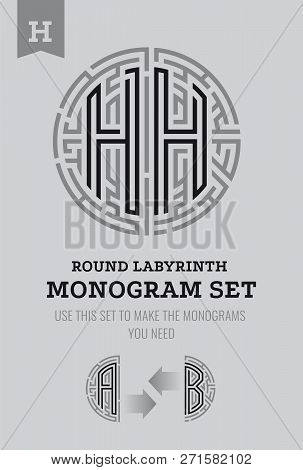 H Letter Maze. Set For The Labyrinth Logo And Monograms, Coat Of Arms, Heraldry, Abbreviation.