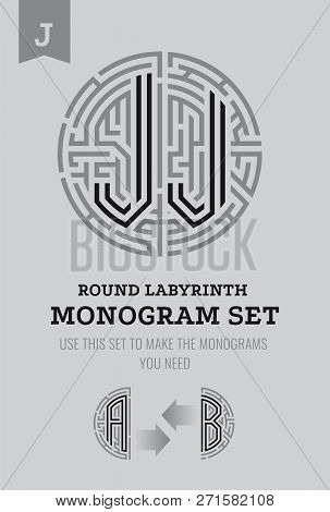 J Letter Maze. Set For The Labyrinth Logo And Monograms, Coat Of Arms, Heraldry, Abbreviation.