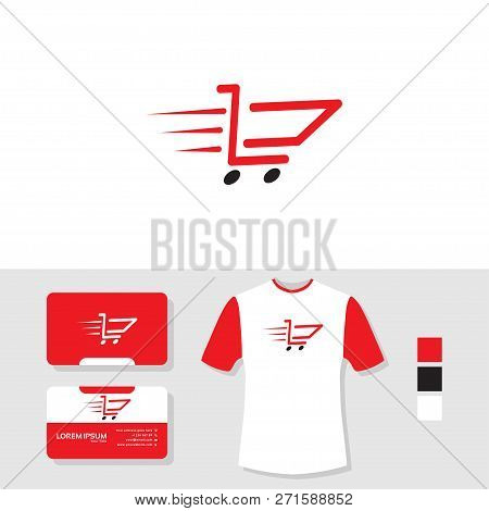 Speedy Cart Logo Design With Business Card And T Shirt Mockup