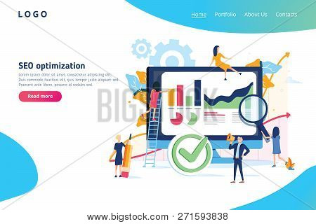 Seo Optimization Modern Flat Design Gradients Concept. Search Engine And People Concept. Landing Pag