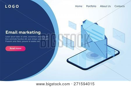 Header For Website. Homepage. Concept Of Mobile Email Notification. Communication, Distribution Of I