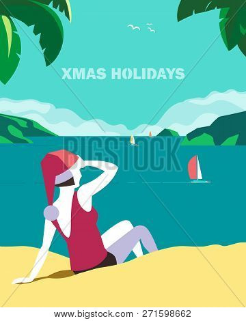 Winter Holiday Seaside Vacation Concept. Retro Poster In Hand Drawn Pop Art Style. Christmas Season