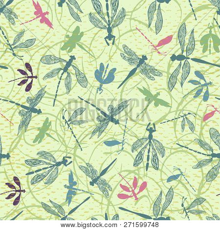 Dragonfly Silhouettes With Lace Details Seamless Vector Pattern In Fresh, Springy Style. Ideal For H