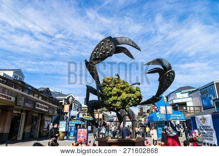 San Francisco, Usa - February 24, 2017: Pier 39 Fishermans Wharf At San Francisco. Pier 39 Is A Famo