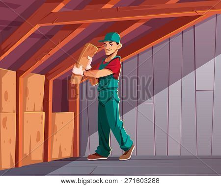 Building Thermal Or Acoustic Insulation, Dwelling Heat Loss Minimizing Cartoon Vector Illustration.