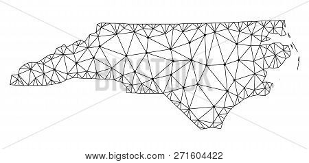 Polygonal Mesh Map Of North Carolina State In Black Color. Abstract Mesh Lines, Triangles And Points