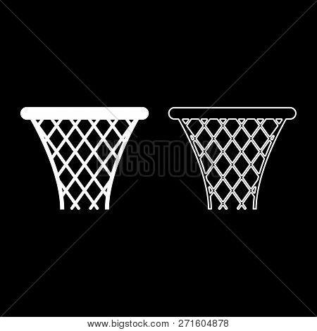 Basketball Basket Streetball Net Basket Icon Set White Color Vector Illustration Flat Style Simple I
