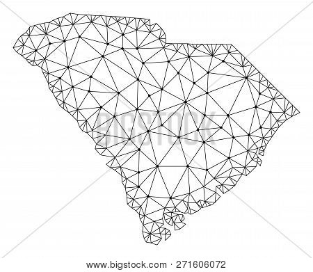 Polygonal Mesh Map Of South Carolina State In Black Color. Abstract Mesh Lines, Triangles And Points