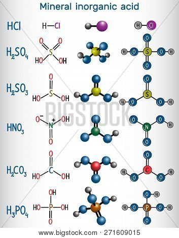 Chemical Formula And Molecule Model Mineral Inorganic Acid. Hydrochloric Acid (hcl), Sulfuric Acid (