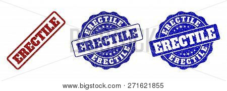 Erectile Scratched Stamp Seals In Red And Blue Colors. Vector Erectile Watermarks With Grunge Effect