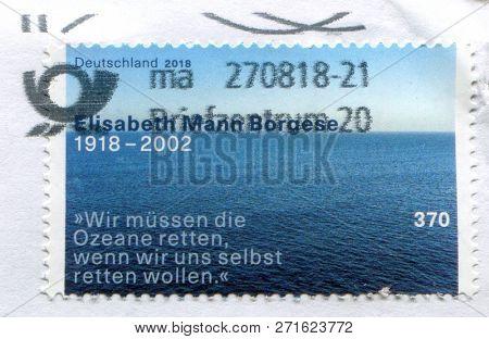 GOMEL, BELARUS, 15 DECEMBER 2017, Stamp printed in Germany shows image of the Elisabeth Mann Borgese 1918-2002, circa 2018.