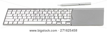 Computer Keyboard Trackpad And Stylus  Isolated On White Background