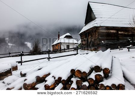 VLKOLINEC, SLOVAKIA - DECEMBER 31, 2017:  A historic village in Slovakia which is part of the UNESCO World Heritage since 1993. Vlkolinec is a the traditional features of a central European village.