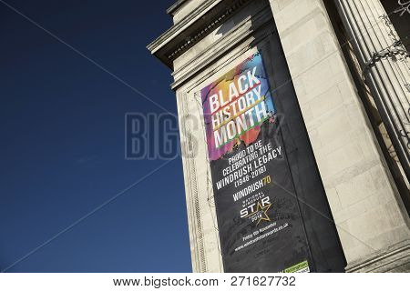 Nottingham, Nottinghamshire, Uk: October 2018: Banner To Celebrate Black History Month