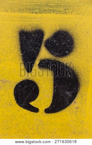 Number Stencil Painted On Yellow Background,  Number 5, Number Five