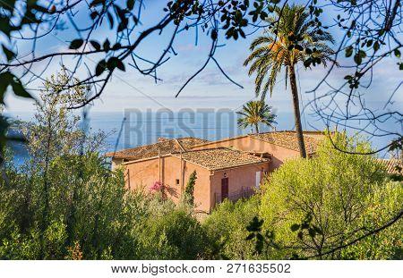 Beautiful Mediterranean House At The Coast Of Majorca Island, Spain Mediterranean Sea