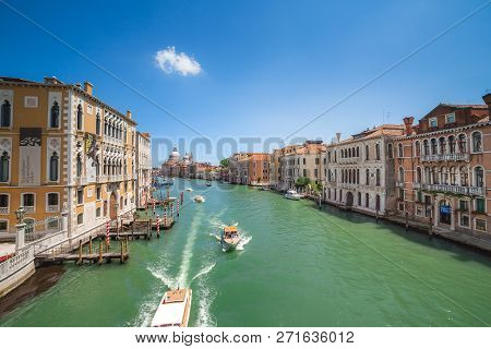 Venice, Italy - June 15, 2016: View  To Grand Canal And  Santa Maria Della Salute From  Accademia Br