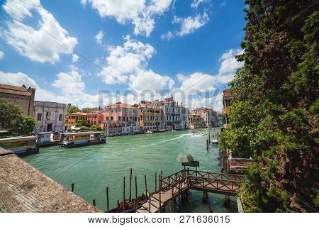 Venice, Italy - June 15, 2016: View  To Grand Canal And Vaparetto Station From Ponte Dell Accademia,