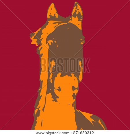 Three Color Vector Horses - Each Of Them On A Different Colors Background - Horse With Outline Strok