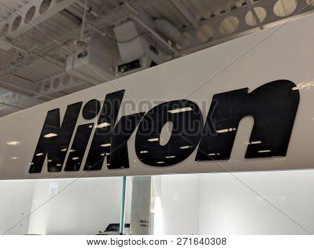 Honolulu - September 7, 2018:  Black Nikon Logo On White Shiny Wall In Honolulu Best Buy Store. Niko