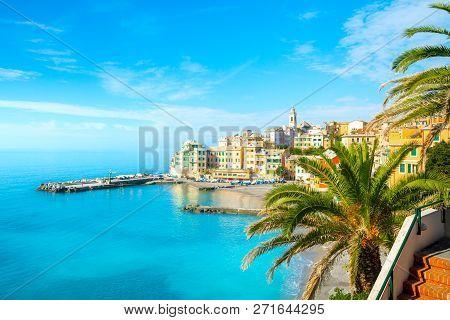View Of Bogliasco. Bogliasco Is A Ancient Fishing Village In Italy, Genoa, Liguria.