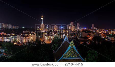 Pattaya City Thailand Panorama At Night