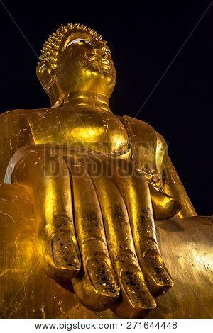 Wat Phra Yai Temple Big Buddha Close-up Of A Giant Golden Hand Pattaya City Thailand