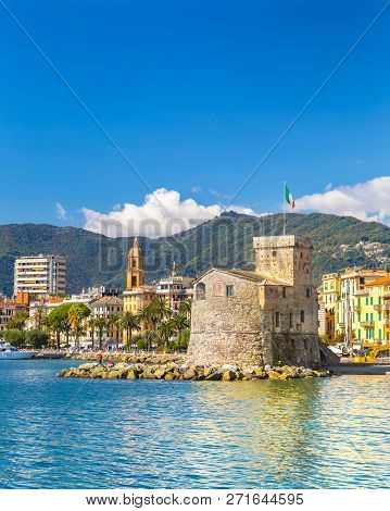 Beautiful View Of Coastline And Picturesque Seaside Village Rapallo. Little Harbor And Houses.