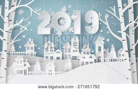 Happy New Year And Winter Season , Snow Urban Countryside Landscape City Village With Text 2019,pape