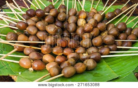Egg Sate Satay Traditional Food From Central Java Served In Banana Green Leaf Food
