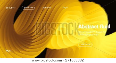 Futuristic Banner With Gold Liquid Shape. Creative Landing Page Template. Flow Abstract Background F