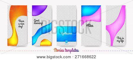 Stories Template Trendy Kit. Fashion Frames For Mobile Phone. Social Media Stories Creative Design.