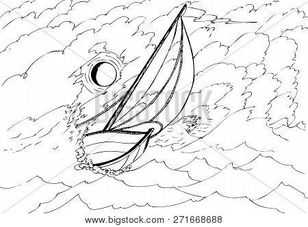 Yacht In The Stormy Sea Illuminated By The Moon. Hand Drawn Illustrations For Coloring