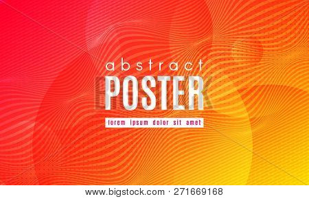 poster of Abstract Geometric Background. Fluid Shapes Composition. Wave Liquid with Distorted Lines. Striped Geometric Poster in Red, Yellow and Orange Colors Design. Landing Page Concept with Vibrant Gradient.