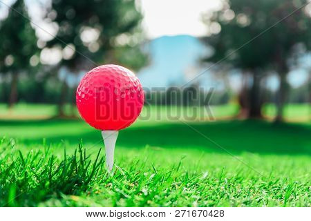 Golf Red Ball In A Tee On High Green Grass Course, Trees, Mountain And Blue Sky Blurred Background,