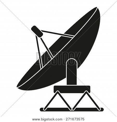 Black And White Satellite Antena Silhouette. Science Radar Equipment. Media Theme Vector Illustratio