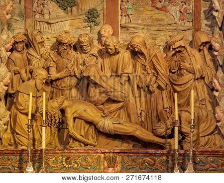 Beautiful Altarpiece In The Mondragon Chapel Of The Cathedral - Santiago De Compostela, Galicia, Spa
