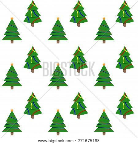 Seamless Pattern Evergreen Tree To New Year And Christmas Holiday. Vector Xmas Firtree And Illustrat