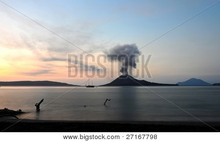 Anak Krakatau at sunset.